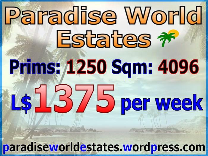 Paradise World Estates - L$ 1375 - 1250 prims - Land For Sale - Land Rentals - Land Store