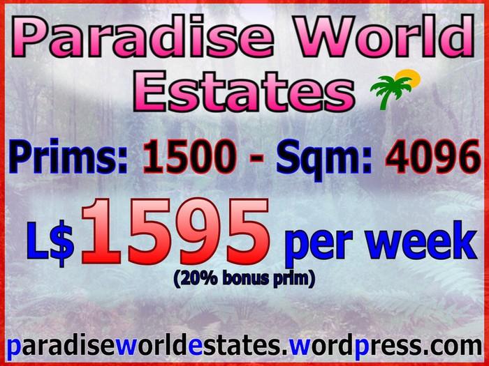 Paradise World Estates - L$ 1595 - 1500 prims - Land For Sale - Land Rentals - Land Store