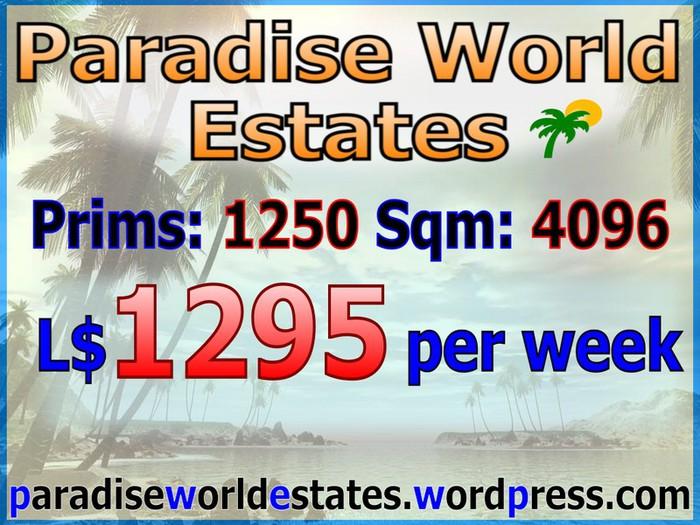 Paradise World Estates - L$ 1295 - 1250 prims - Land For Sale - Land Rentals - Land Store