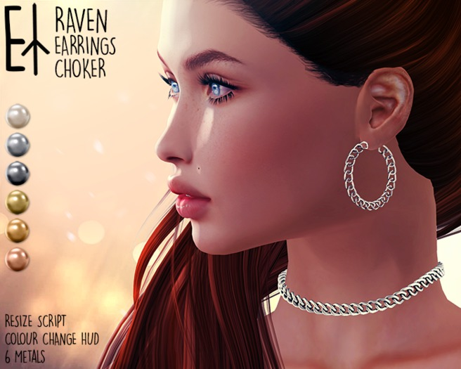 Euphorie - Raven Set - Earrings and Choker