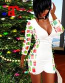 XK Maitreya Deep V Mini Dress Christmas Presents