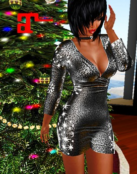 XK Maitreya Deep V Mini Dress Winter Glitter