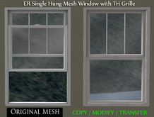 ER Single Hung Window Mesh with Tri Grille FULL PERM