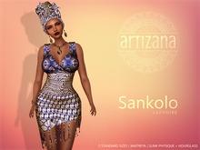 Artizana - Sankolo (Sapphire) - Mesh Dress + Headwrap