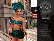 Artizana - Marcia (Sea) - Tube Top + Shorts + Headwrap