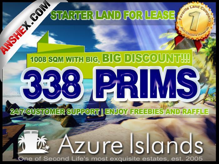 AZURE ISLANDS INNER SIM PARCELS FOR RENT: CHEAP - 1008Sq.M. 388 Prims