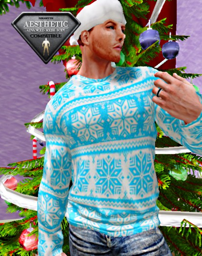 XK Holiday Sweater Snowflake Blue