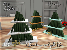 3 Booktrees with gold Rose MT