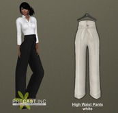 PRECAST Inc. - High Waist Pants with Belt - white