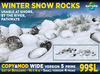Winter rocks with grass and snow 16m 5 prims MOD COPY Boulders landscaping arrangement for lakes, rivers, waterfalls