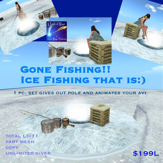 Ice fishing scene with unlimited giver and animations