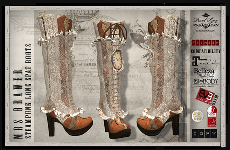 HOLIDAY SALE PIXEL BOX - Steampunk Mrs Brawer Long Spat Boots Fitted (b)