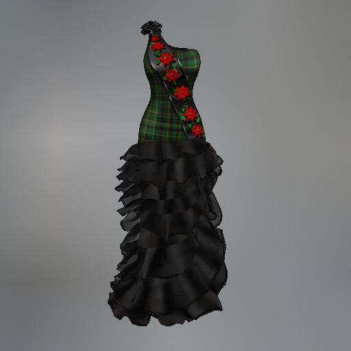 Green Poinsettia Plaid Fitmesh Dress