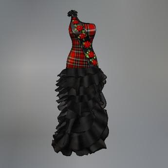Red Poinsettia Plaid Fitmesh Dress