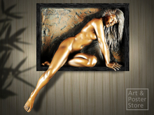 WINSOME Bill Mack | Part Framed Nude Bronze Relief Wall Hanging