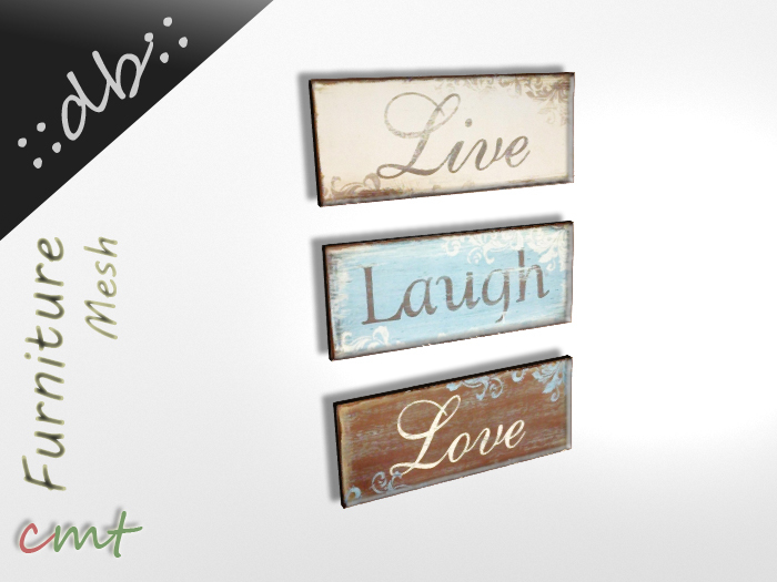 ::db:: Vintage Wooden Signs Live Laugh Love