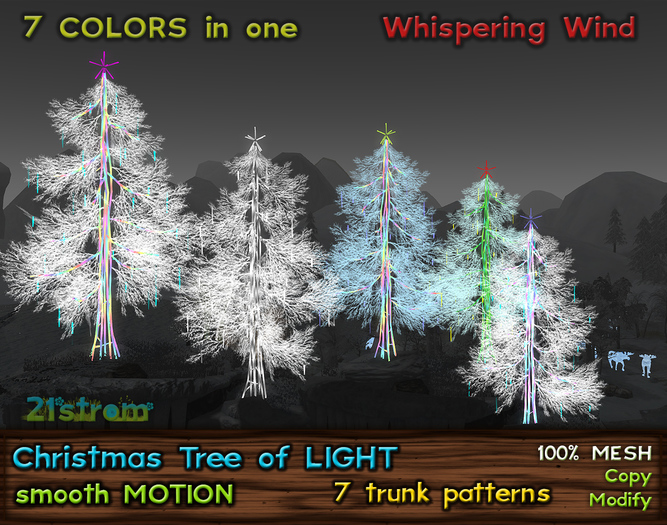 Christmas Tree of Light in 7 Colors, w/ Smooth Motion Effect, Low Prim