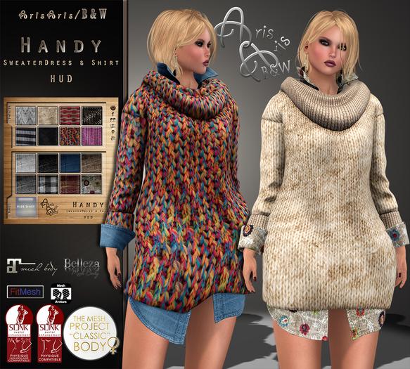 ***ArisAris/B&W~Gara71-Handy SweaterDress & Shirt~Hud change