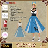 [Drac] Minnie Blue Poodle 50s Complete Outfit - fitmesh + maitreya + slink + belleza + TMP and resize shoes