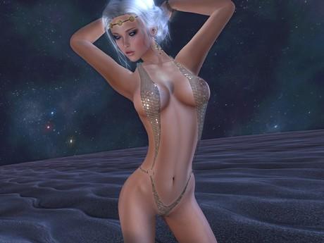Ally★Adventure - Ultra Sexy Trikini - Glitter Sequins Light (2 pcs.) - Maitreya, Slink, Hourglass, TMP