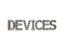 "[Px] ""DEVICES"" Illuminated Light Bulbs Sign"