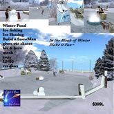 Ice fish pond ice skate winter scene(crate)