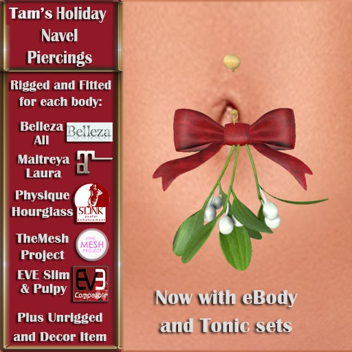 Tam's Holiday Mistletoe Navel Piercing - Kiss Me! for Belleza, Abar eBody, Eve, Slink, Maitreya, TMP and Tonic Bodies