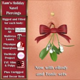Tam's Holiday Mistletoe Navel Piercing - Kiss Me! for Belleza, Abar eBody, Eve, Slink, Maitreya, TMP and Tonic Bodies