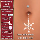 Tam's Holiday Snowflake Navel Piercing for Belleza, Abar eBody, Eve, Slink, Maitreya, TMP and Tonic Bodies