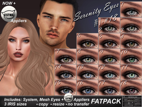 NEWCLAN_Serenity Eyes_FATPACK (18 colors)