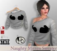 #b Gray Naughty Mittens Sweater - Maitreya , slink, fit mesh