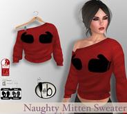 #b Red Naughty Mittens Sweater, Maitreya, Slink, FITmesh