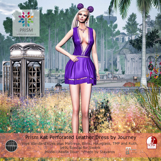 Prism Kat Perforated Leather Dress by Journey -Special Gift Purple