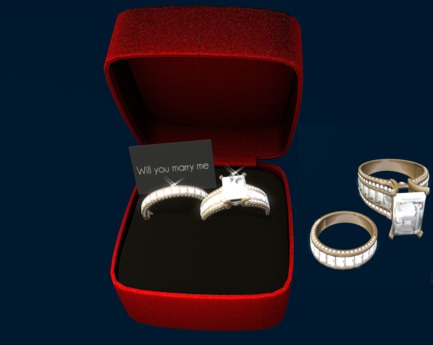 Second Life Marketplace Diamand Wedding Ring Women Men Gold In