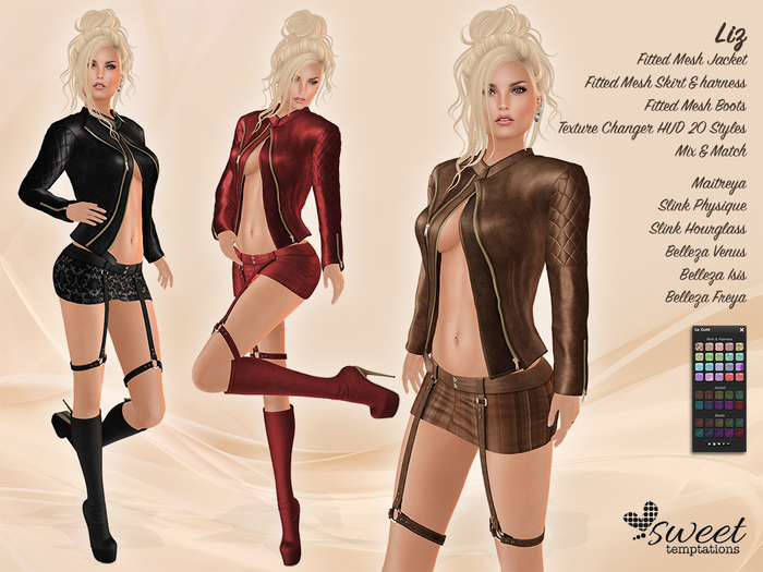 Sweet Temptations :: Liz Outfit for Maitreya, Physique, Hourglass, Belleza (V, I, F) @ 20 Texture