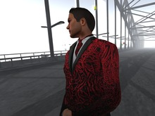 Paris METRO Couture: Men's Urban Dinner Jacket Red with Black Wool Belted Slacks.