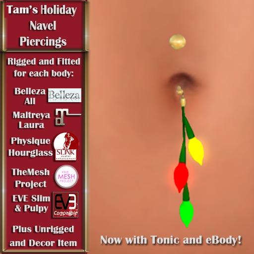 Tam's Holiday Christmas Lights Navel Piercing for Belleza, Abar eBody, Eve, Slink, Maitreya, TMP and Tonic Bodies