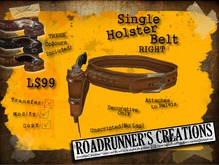 .:R's:. Single Holster Belt - RIGHT