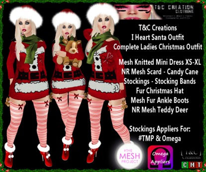 Second Life Marketplace T C I Heart Santa Christmas Ladies Outfit Tmp Omega