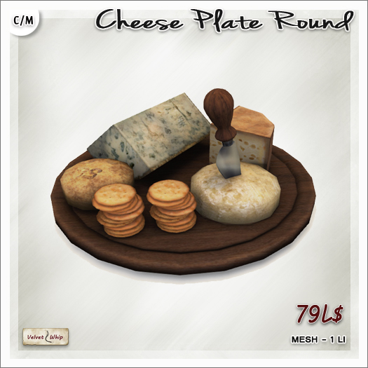 [V/W] Cheese Plate Round - 1 LI multiple cheese choice on wooden tray - Mesh Food