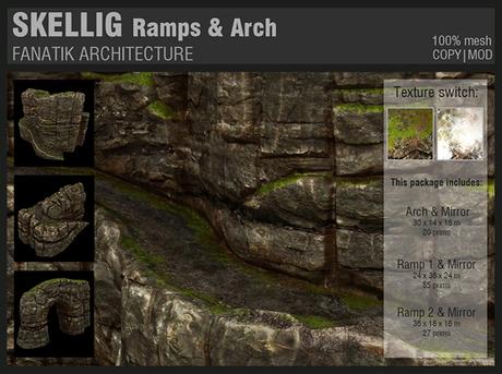 :Fanatik Architecture: SKELLIG Ramps & Arch - mesh sim building / landscaping kit - rock formation building prefab