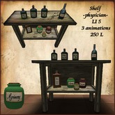 Shelf for physician, healer, infirmary with animations