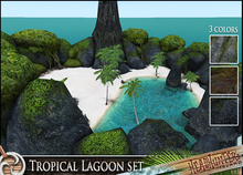 HeadHunter's Island  - Tropical Beach Lagoon set with volcano - 3 rock colors / volcano cave / palm trees - MESH