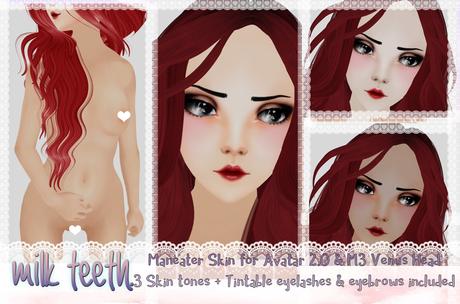 milk teeth. Maneater skin mod for Venus head - Three skin-tones, eyelashes, eyebrows and freckles INCLUDED