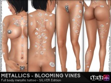 KARVED Metallic Tattoo Blooming Vines Classic Layer & Omega Appliers SILVER Edition