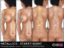KARVED Metallic Tattoo Starry Night Classic/BoM Layers & Omega Appliers GOLD & SILVER Fat Pack