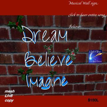 Dream Believe Imagine Musical Christmas Wall plaque(bag)