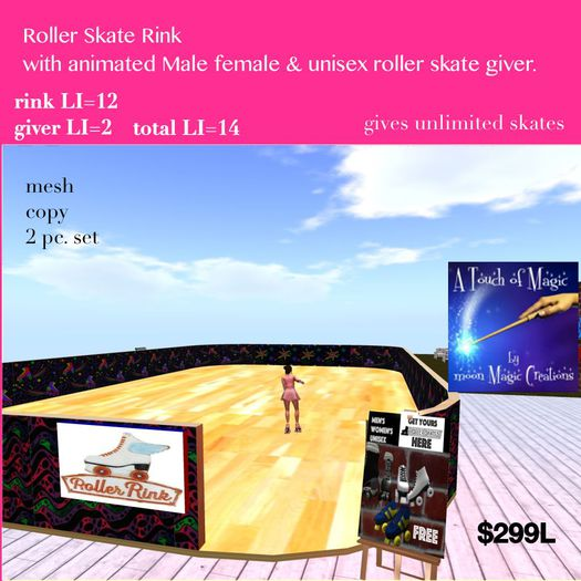 Roller Rink with animated skate giver Male female unisex(crate)