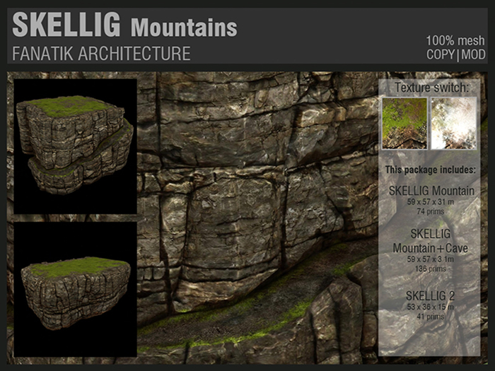 :Fanatik Architecture: SKELLIG Mountains - mesh sim building / landscaping kit - rock formation building prefab