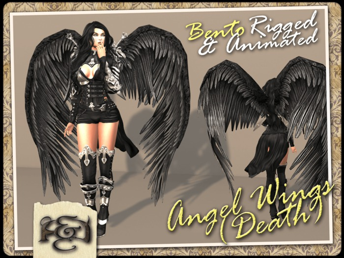 [EC] - Angel Wings (Death) (Black) (BENTO - Animated) (M/F) (Regular, Small, & Child Sizes)